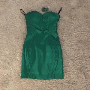 Bebe Emerald green bodycon mini dress NWOT